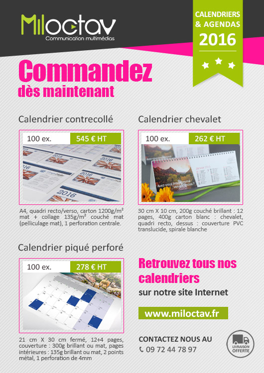 Promotion 2015 - Calendriers - Agence Miloctav